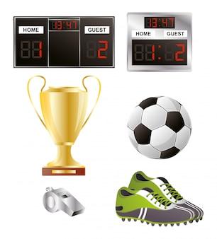 Pallone da calcio con attrezzature per scarpe e trofeo