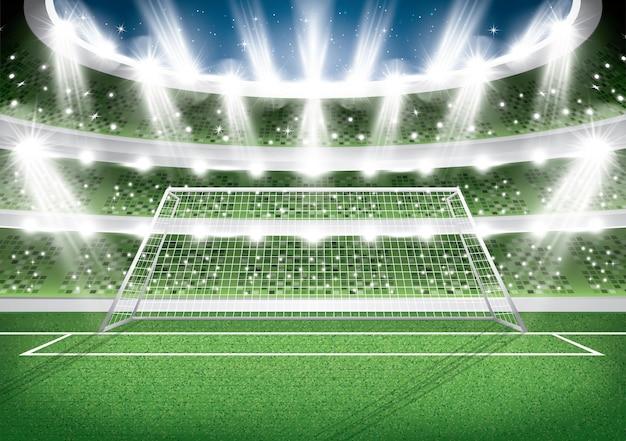 Stadio di calcio. palo della porta. arena di calcio. illustrazione di vettore.