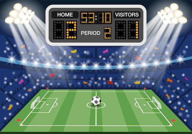 Stadio di calcio con tabellone segnapunti