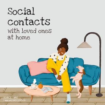 Contatti sociali con i propri cari a casa durante l'epidemia di coronavirus fonte modello sociale vettore oms