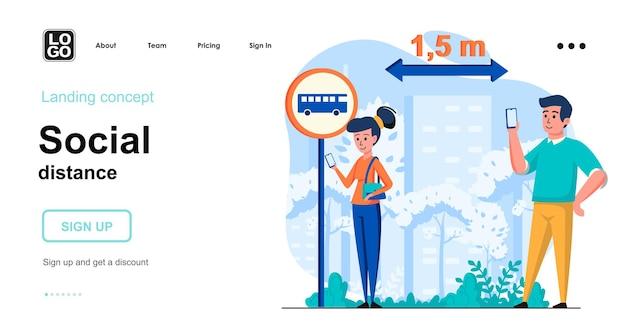 Design piatto del modello di pagina di destinazione della distanza sociale