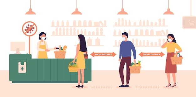 Distanza sociale nel supermercato del negozio pubblico
