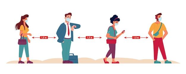 Distanza sociale in coda persone in maschera in distanza di sicurezza vettore piatto coronavirus covid social keep