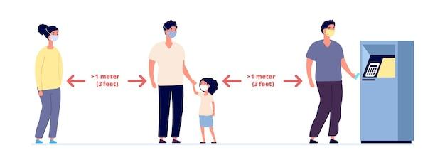 Distanza sociale. infografica sulle auto precauzioni sicure, persone che indossano maschere protettive. maschera facciale per proteggere il rischio di virus. donna uomo bambino prevenire l'infezione da coronavirus in coda all'illustrazione vettoriale bancomat