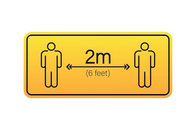 Icona di segnaletica a distanza sociale. per favore aspetta qui. mantieni la distanza di sicurezza. illustrazione di riserva di vettore.