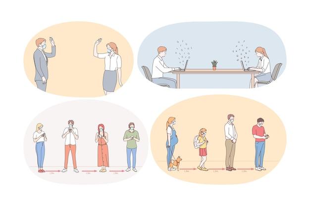 Distanza sociale, lavoro e vita durante l'illustrazione del concetto di pandemia covid-19
