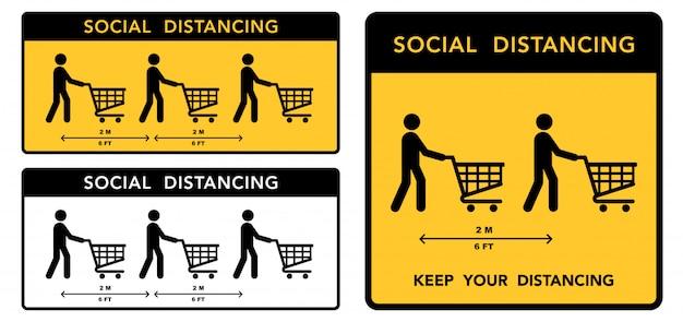 Banner di social distanza. mantenere la distanza di 2 metri. protezione contro l'epidemia di coronovirus.