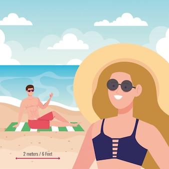 Distanza sociale sulla spiaggia, coppia mantenere la distanza di due metri o sei piedi, nuovo concetto di spiaggia estiva normale dopo coronavirus o covid 19