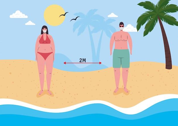Distanza sociale sulla spiaggia, coppia che indossa una maschera medica in spiaggia, nuovo concetto normale di spiaggia estiva dopo coronavirus o covid 19