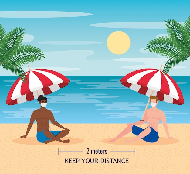 Distanza sociale sulla spiaggia, gli uomini mantengono la distanza di due metri o sei piedi, nuovo concetto normale di spiaggia estiva dopo coronavirus o covid 19