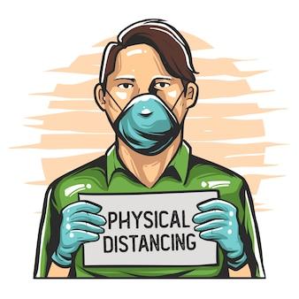 Campagna di distanza sociale illustrazione premium