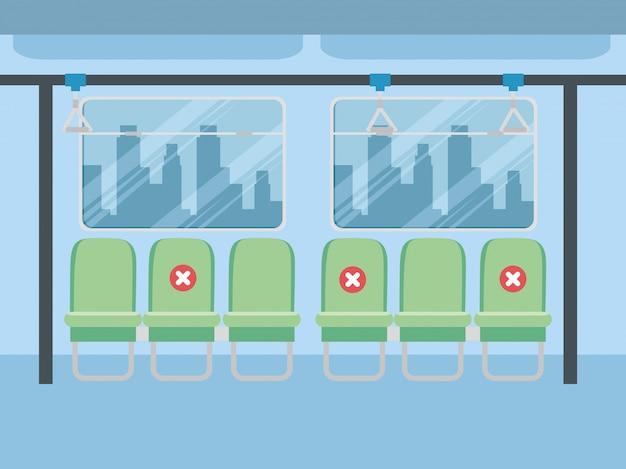 Spazio per sedie di allontanamento sociale all'interno del bus, per proteggere il coronavirus covid 19, quarantena, pandemia che riduce il rischio di infezione, concetto di allontanamento sociale