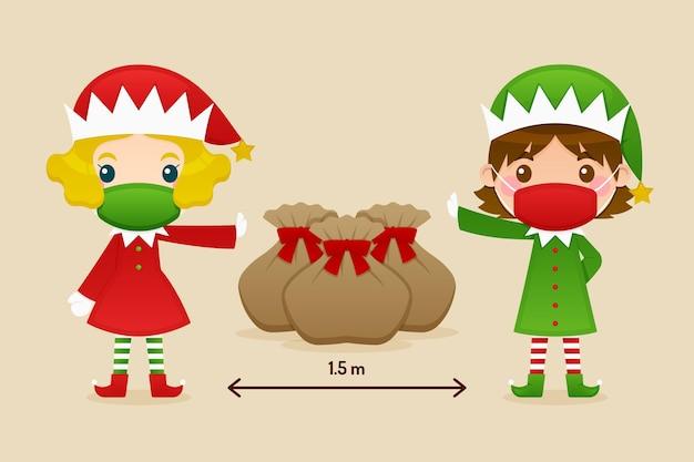 Concetto di allontanamento sociale con gli elfi di natale