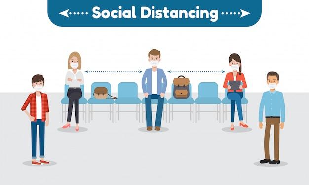 Distanziamento sociale per la malattia di coronavirus