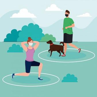 Distanza sociale, coppia che indossa una maschera medica, donna e uomo che praticano sport nel parco con il cane, coronavirus covid 19 prevenzione