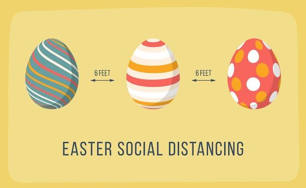 Allontanamento sociale a pasqua. uova colorate alla moda che mantengono la distanza. banner per covid coronavirus.