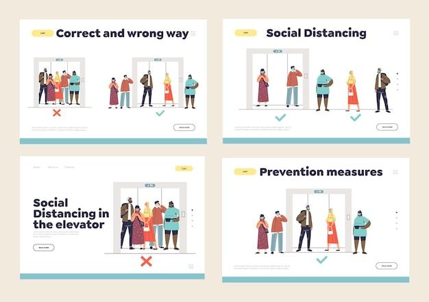 Distanziamento sociale nel concetto di ascensore del set di pagine di destinazione