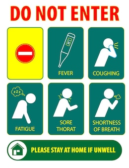 Il distanziamento sociale o non inserire poster in ufficio o pratiche di sanità pubblica per covid19