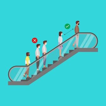 Distanziamento sociale esempio di persone in piedi sulla scala mobile.ai. il nuovo normale. prevenire la diffusione del covid-19 nella comunità.