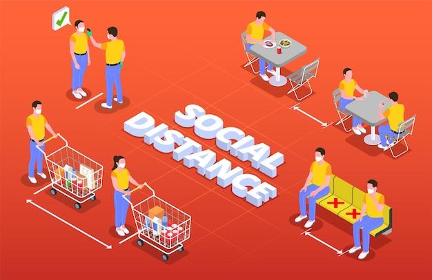 Illustrazione isometrica di allontanamento sociale