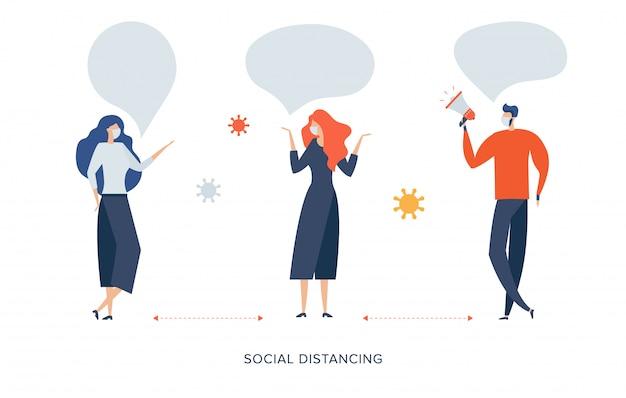 Distanziamento sociale, mantenere le distanze nelle persone della società pubblica per proteggere dal concetto di diffusione dell'epidemia di coronavirus covid-19, l'uomo d'affari e la donna mantengono le distanze durante l'incontro con i patogeni virali