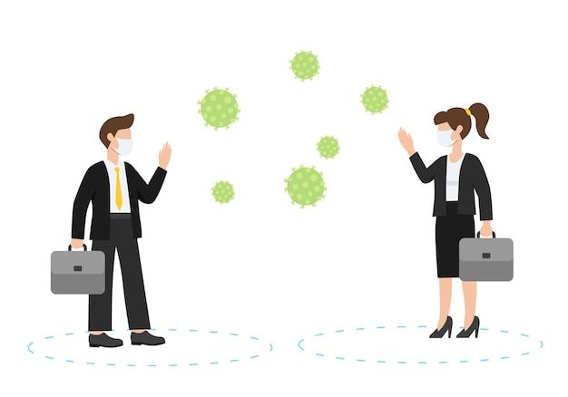 Allontanamento sociale, mantenere le distanze nelle persone della società pubblica