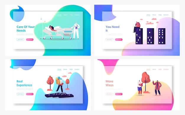 Set di modelli di pagina di destinazione a distanza sociale.