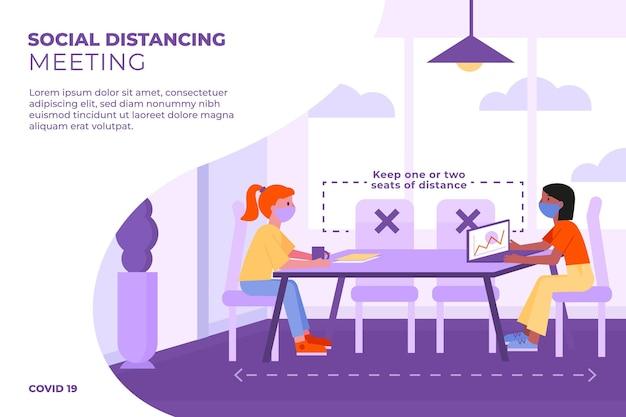 Distanziamento sociale in una riunione Vettore Premium