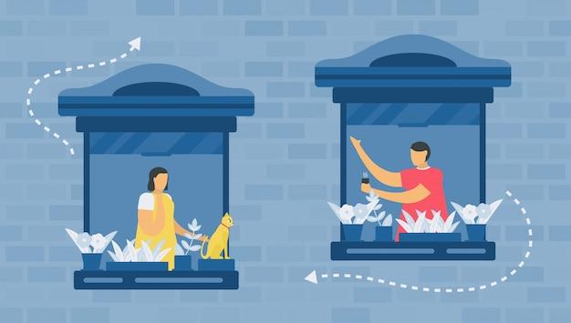 Distanziamento sociale per la protezione di nuovi coronavirus o covid-19. parlano alla finestra della loro casa. l'illustrazione è in stile piatto. lavoro da casa.