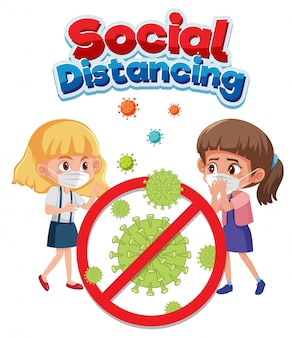 Segno di testo sociale di distanza