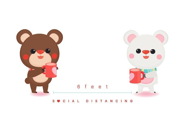 Allontanamento sociale nel giorno di san valentino. nuovo normale. simpatico orso e cuore.
