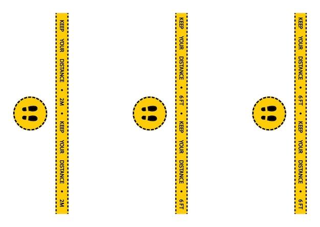Nastro di avvertenza sul distanziamento sociale. avvertimento strisce gialle e nere di quarantena del coronavirus. striscia di sicurezza per la marcatura del pavimento sul distanziamento sociale. distanza in coda 2 metri o 6 piedi istruzione. vettore