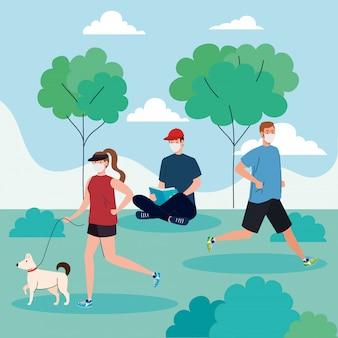 Distanza sociale, giovani che indossano maschera medica, praticano sport e fanno attività all'aperto, il coronavirus covid 19 prevenzione