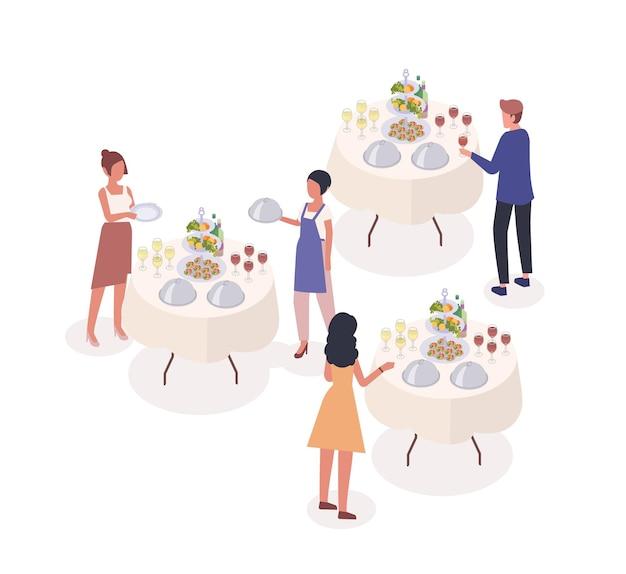 Illustrazione isometrica di vettore di evento sociale. ospiti che bevono vino, degustano snack a banchetti personaggi dei cartoni animati. cameriere, addetto al servizio di catering che serve piatti. enorme festa di celebrazione dell'occasione festiva.