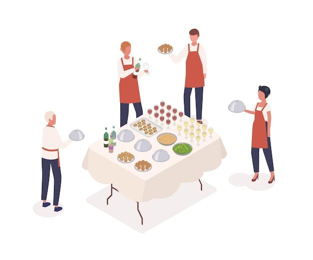 Illustrazione isometrica di vettore della preparazione dell'evento sociale. servizio al tavolo, concetto di servizio ristorante. camerieri e cameriere personaggi dei cartoni animati. personale del caffè e tavola festiva isolati su fondo bianco.