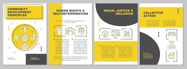 Modello di brochure sui principi di sviluppo del gruppo sociale. volantino, opuscolo, stampa di volantini, copertina con icone lineari. layout vettoriali per presentazioni, relazioni annuali, pagine pubblicitarie