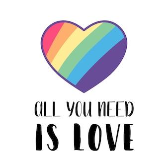 Poster sociale lgbt, banner con cuore. mese dell'orgoglio. illustrazione vettoriale piatto. simbolo di amore di concetto di transgender bisessuale gay lesbica.