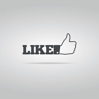 Icona social like su sfondo bianco