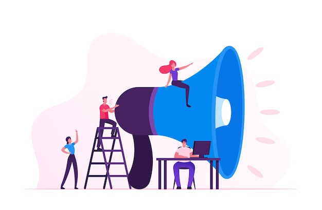 Concetto di marketing sociale. cartoon illustrazione piatta