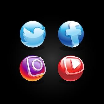 Globo 3d di social media