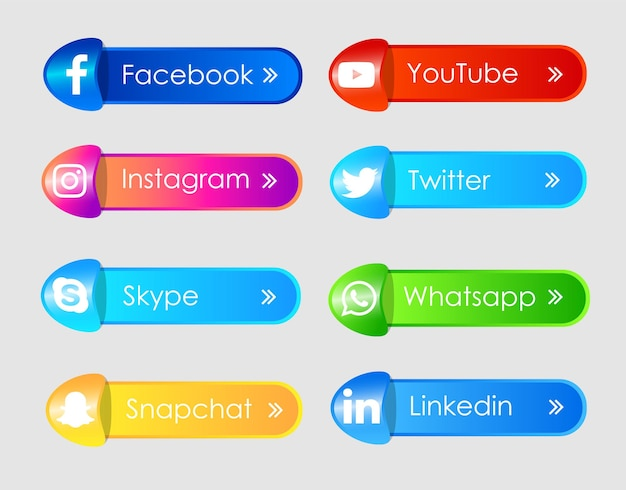 Etichetta icone social media 3d
