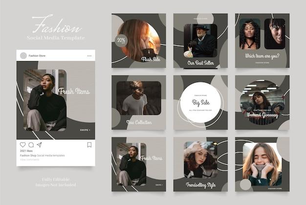 Modello di pubblicità sui social media per storie e post di instagram