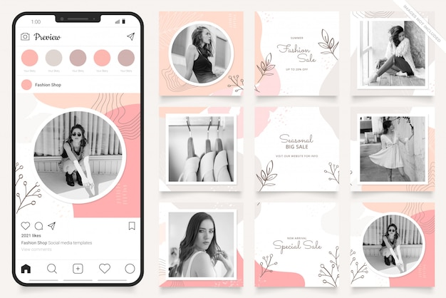 Modello di pubblicità sui social media per instagram