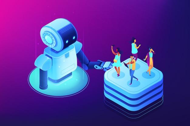 Illustrazione isometrica di concetto degli strumenti di automazione di media sociali.