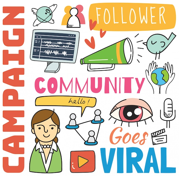 Fondo sociale di media nell'illustrazione di stile di scarabocchio