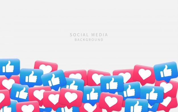 Sfondo di social media. notifiche sui social media come icona.