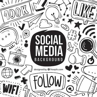 Sfondo di media sociali con elementi disegnati a mano