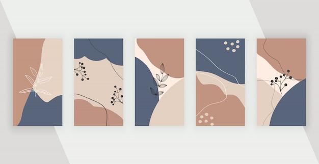 Sfondi social media con disegno geometrico astratto con forme, foglie e linee dipinte a mano di colori rosa, marrone e blu.