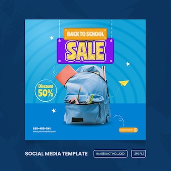 Banner sui social media che pubblicizza il ritorno a scuola per il vettore premium delle attrezzature scolastiche