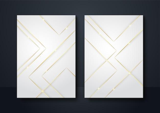 Social media banner sfondo colore oro bianco. decorazione astratta, linee dorate, gradienti di mezzitoni, illustrazione vettoriale 3d. modello di copertina a onde, forme geometriche, banner moderno e minimale